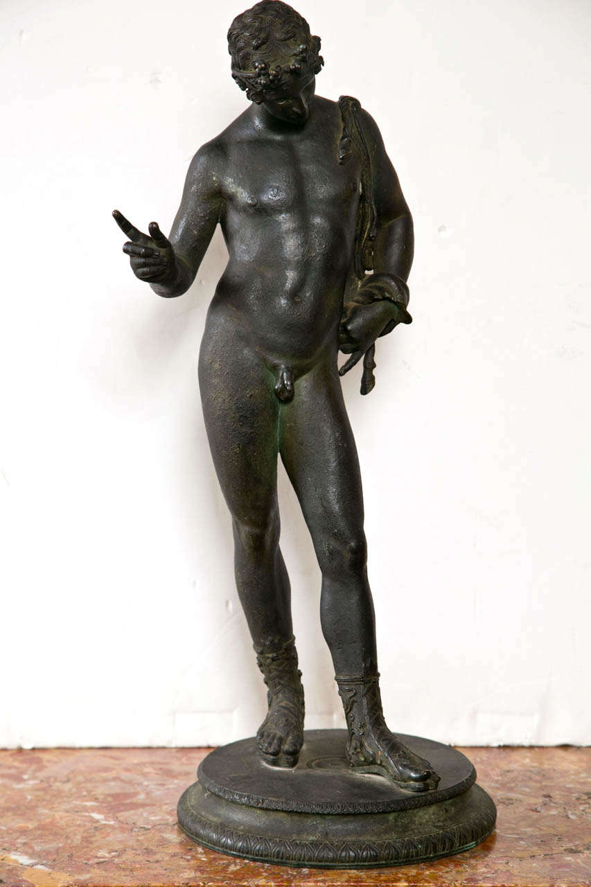 Standing Bronze Figure Of Antinous After The Antique For