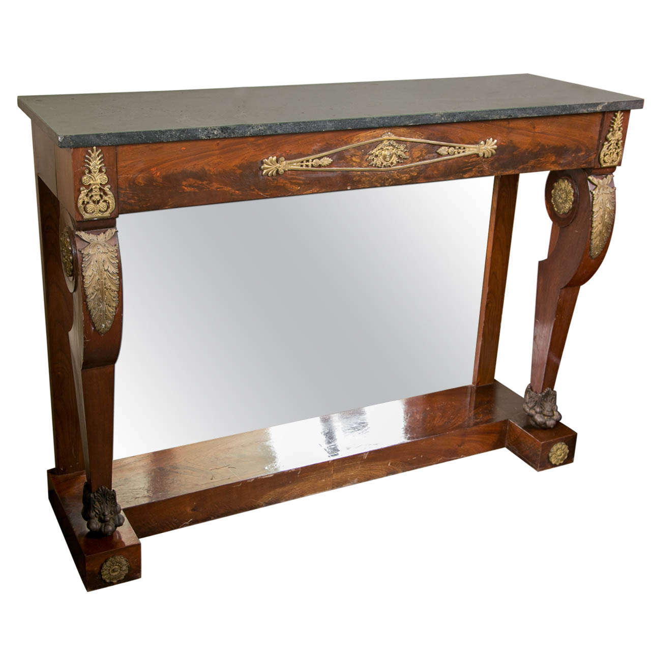 Mahogany Marble Top Period Empire Console Table For Sale