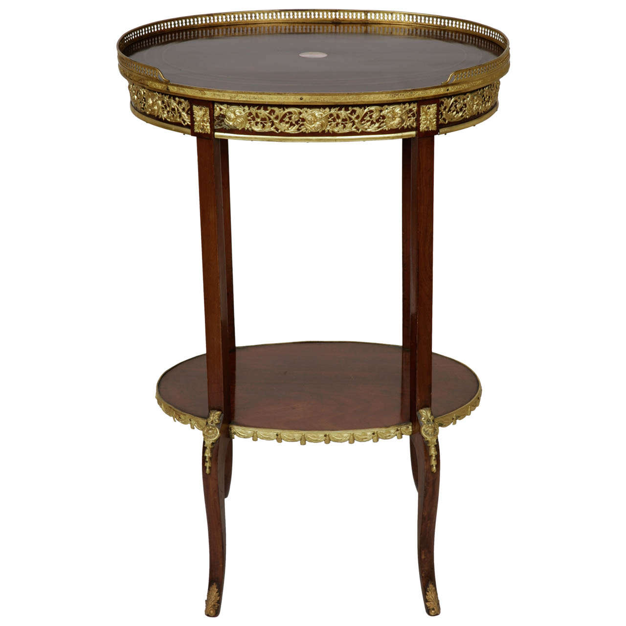 Transitional Style OrmoluMounted Mahogany Oval Shaped TwoTiered Table For S -> Table Oval Laque