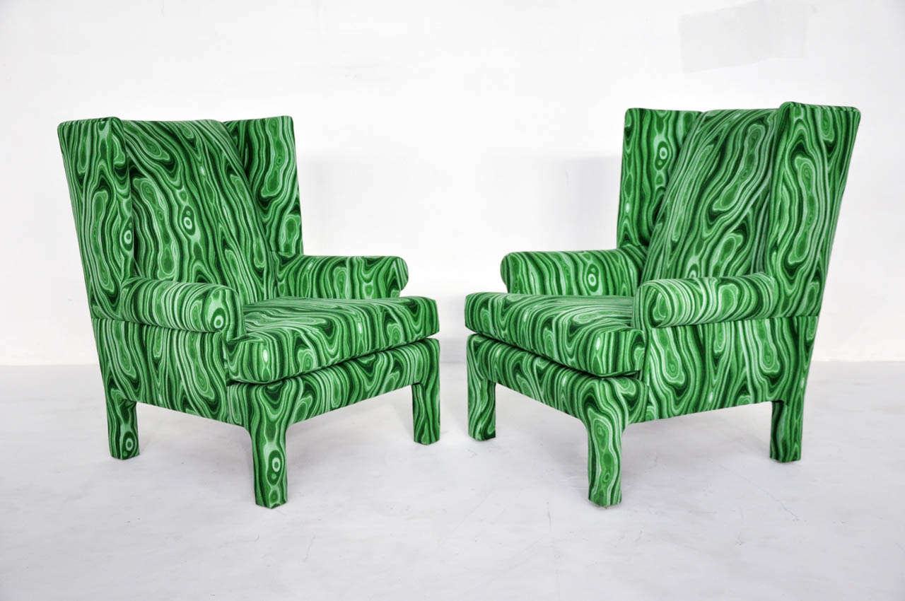 Faux Malachite Wingback Lounge Chairs 2