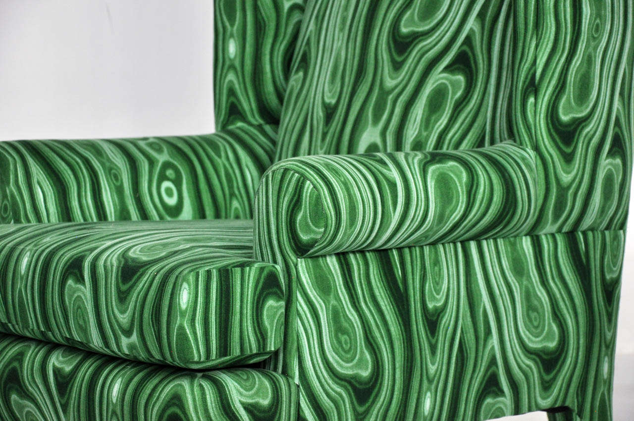 Faux Malachite Wingback Lounge Chairs 3