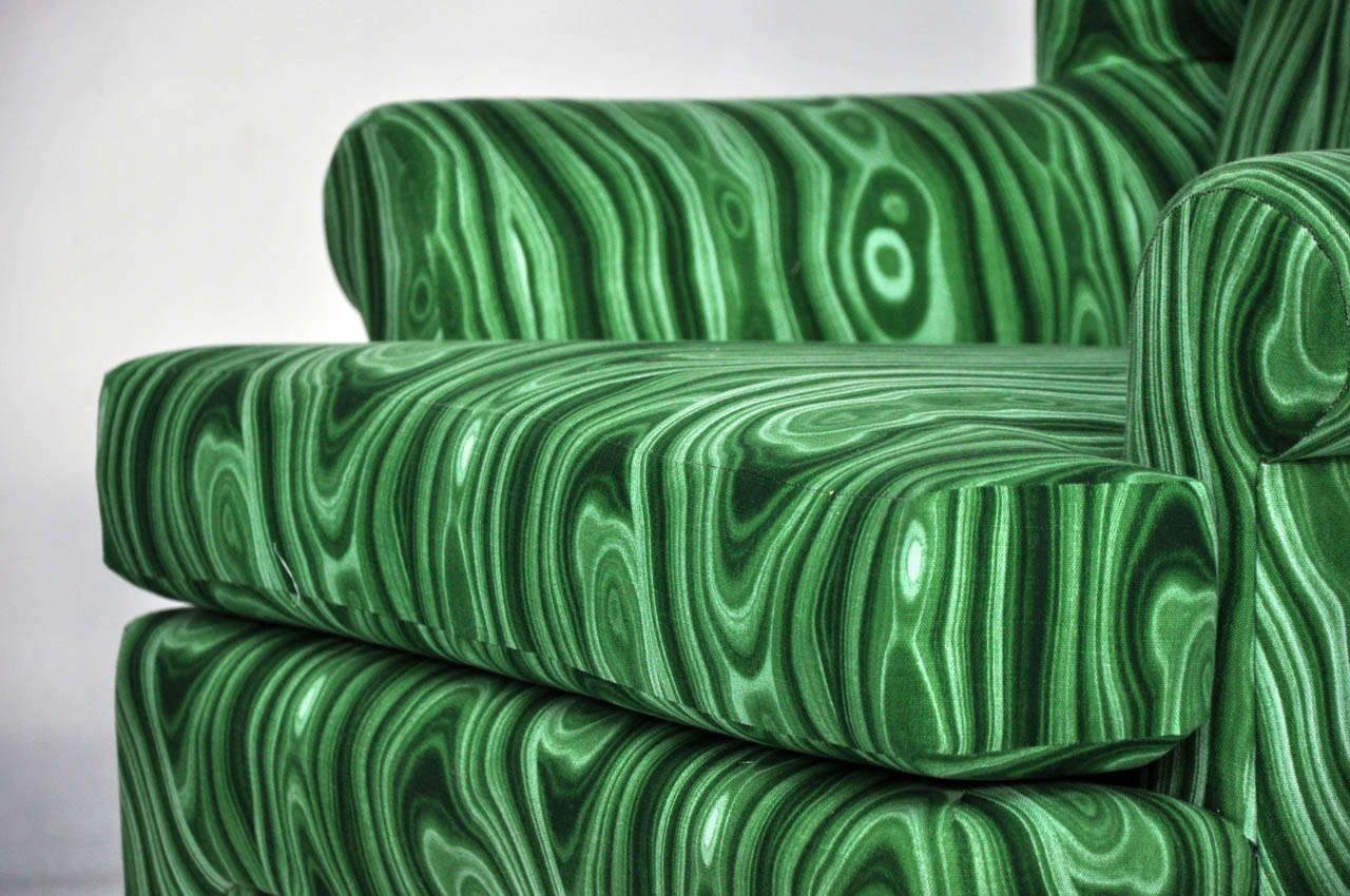 Faux Malachite Wingback Lounge Chairs 4