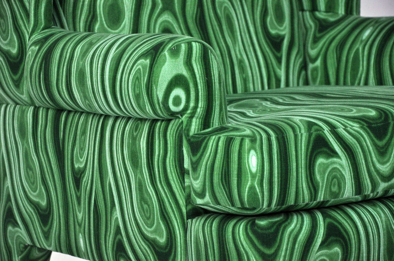 Faux Malachite Wingback Lounge Chairs 5