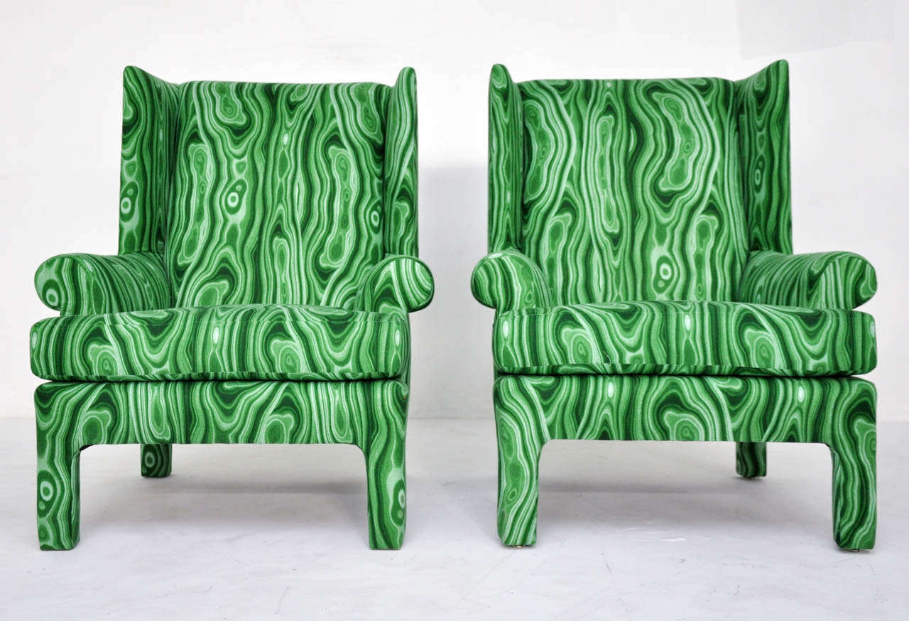 Faux Malachite Wingback Lounge Chairs 7