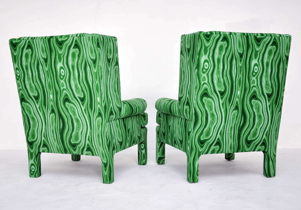 Faux Malachite Wingback Lounge Chairs 8