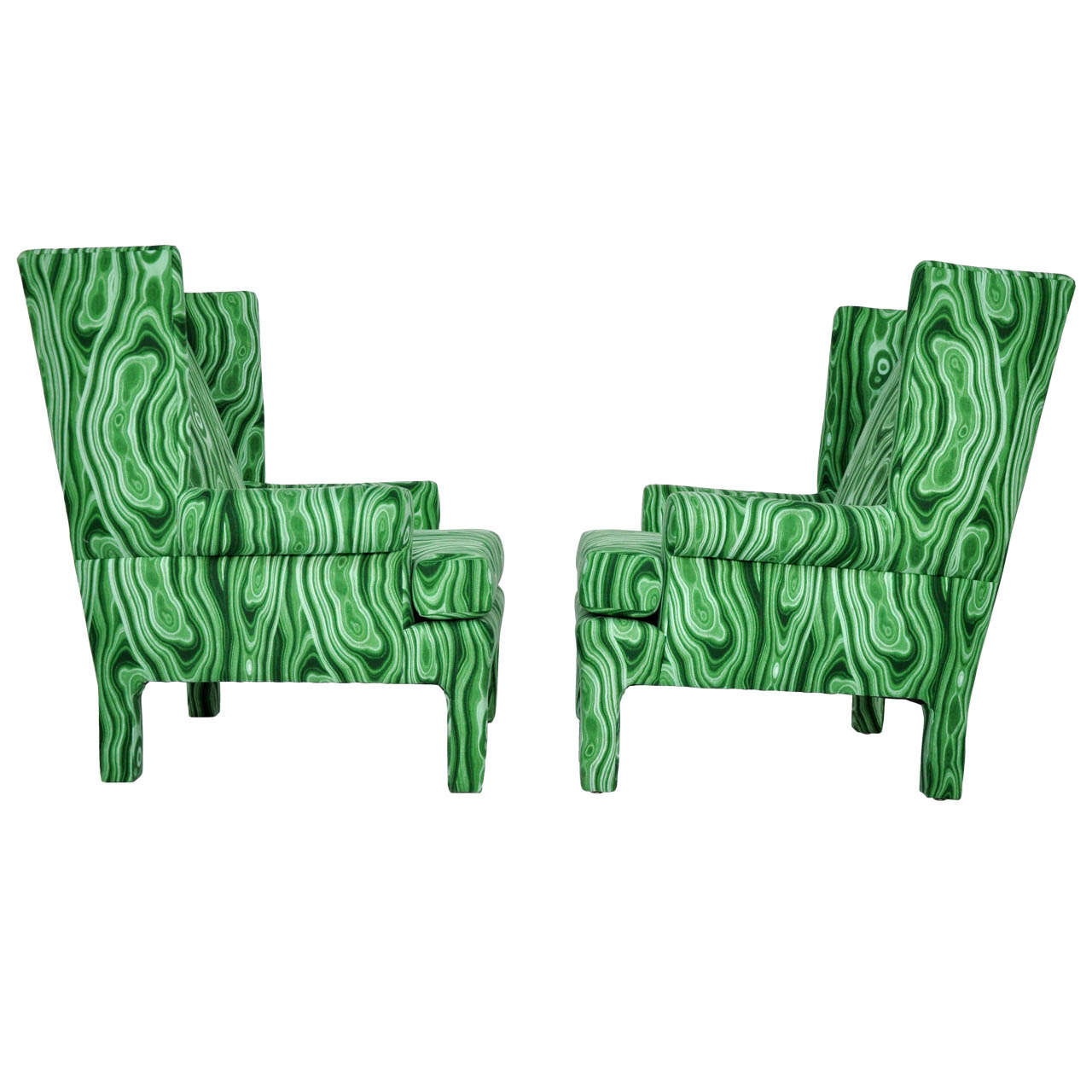 Faux Malachite Wingback Lounge Chairs 1