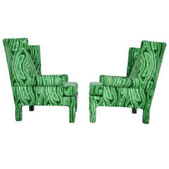 Faux Malachite Wingback Lounge Chairs