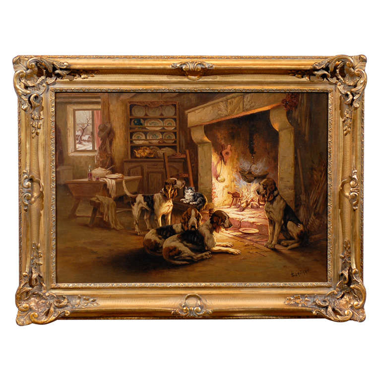 French Oil on Canvas Painting by Louis Lartigau Depicting Dogs with Fireplace