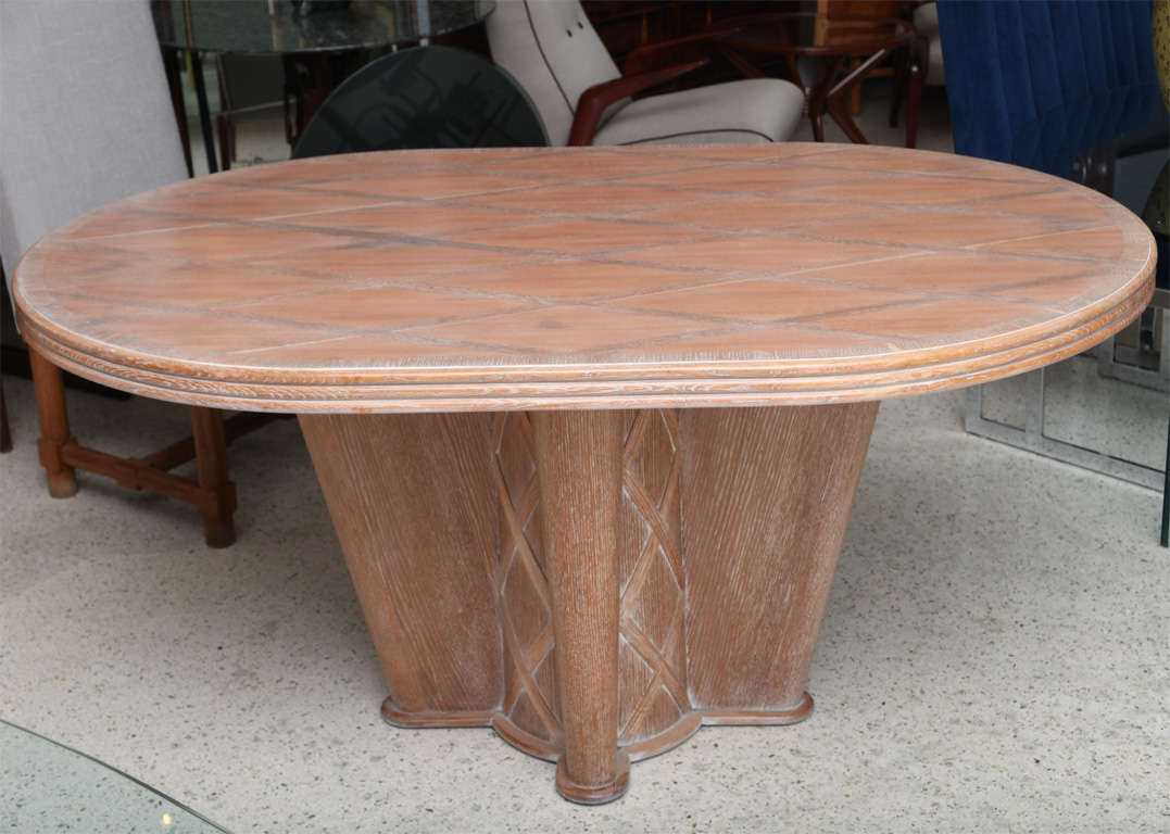 Inlaid Dining Table French Limed Oak Inlaid Dining Table By Soubrier For Sale At 1stdibs