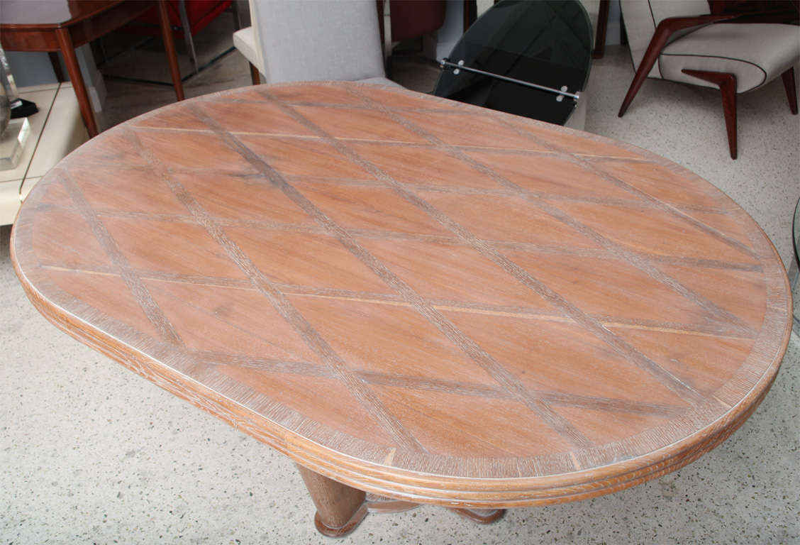 Exceptionnel French Limed Oak Inlaid Dining Table By Soubrier