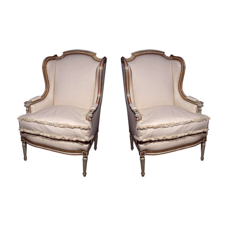Pair Of Maison Jansen Wing Chairs At 1stdibs