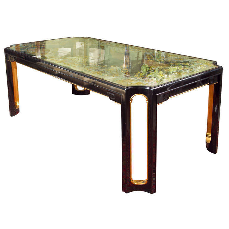 Glass Kitchen Tables For Sale: Maison Jansen Eglomise Glass-Top Dining Table For Sale At
