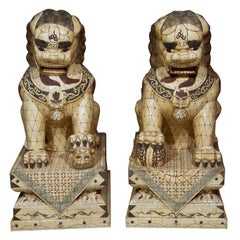 Pair of Palace Sized Bone Foo Dogs Sculptures