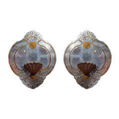 Pair of Eglomise Glass Wall Plaques by Maison Jansen