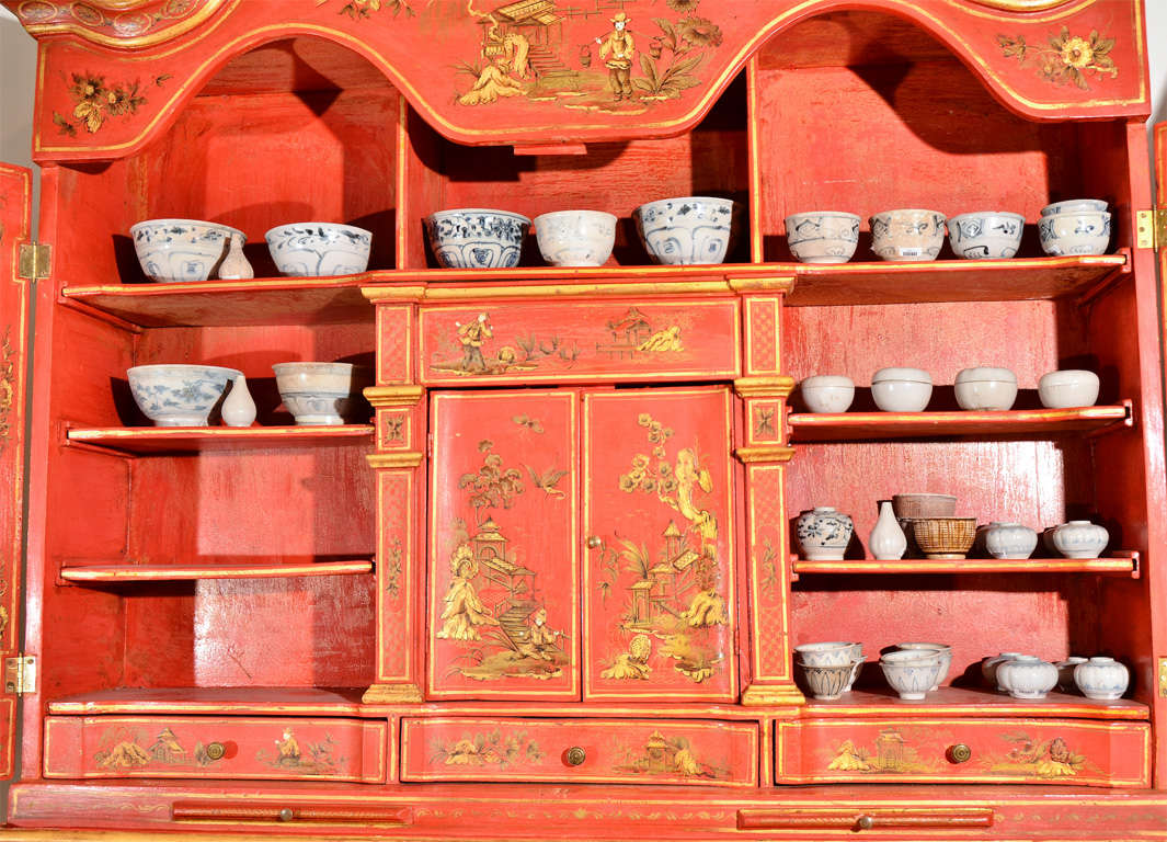 19th Century George III Style Red Japanned Secretary, with mirrored doors For Sale
