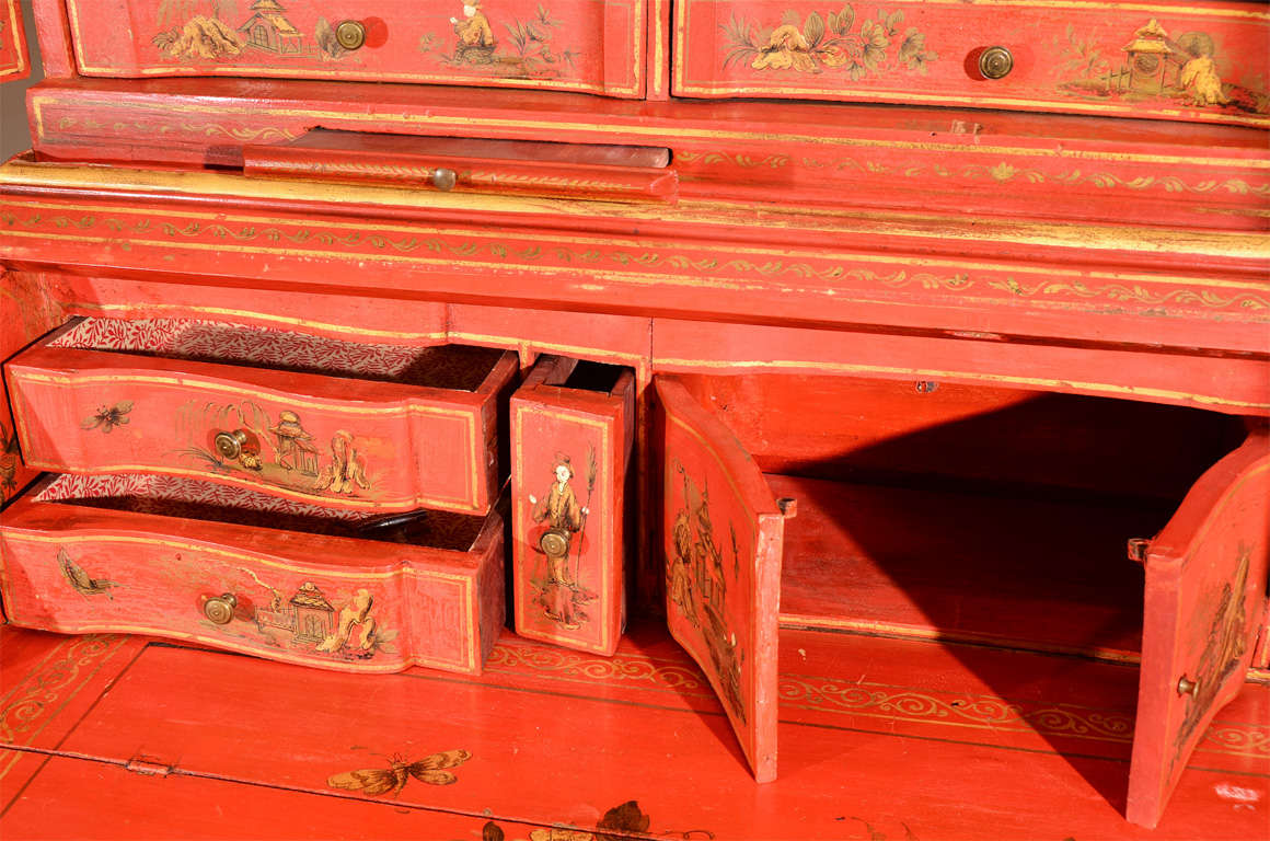Mirror George III Style Red Japanned Secretary, with mirrored doors For Sale