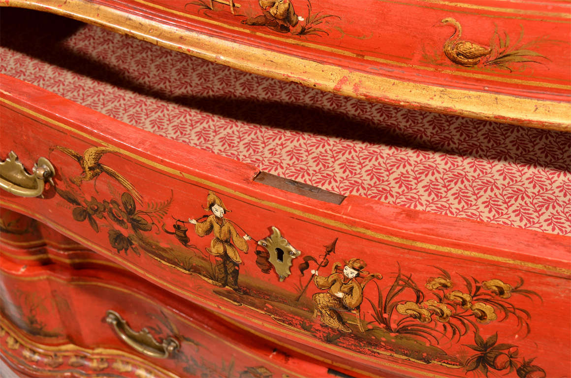 George III Style Red Japanned Secretary, with mirrored doors For Sale 4