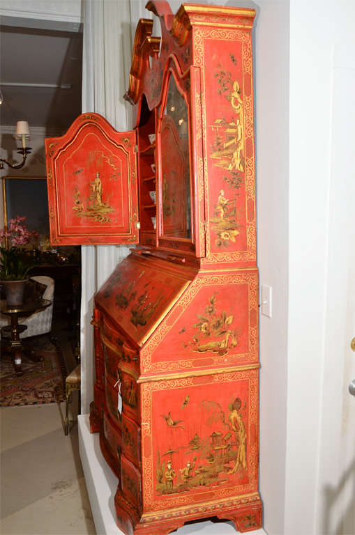 George III Style Red Japanned Secretary, with mirrored doors For Sale 5
