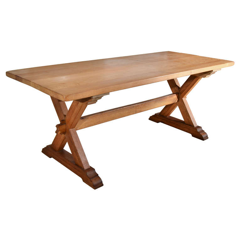continental x base oak trestle table at 1stdibs