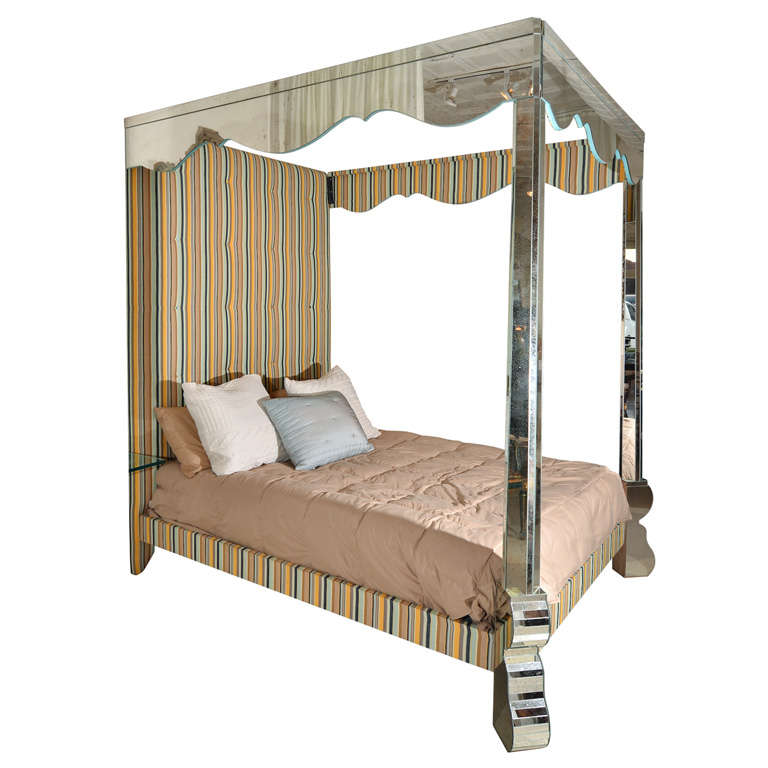 mirrored and upholstered four poster canopy bed at 1stdibs