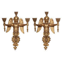 Pair of 18th/19th C. Neoclassical Carved Giltwood Sconces