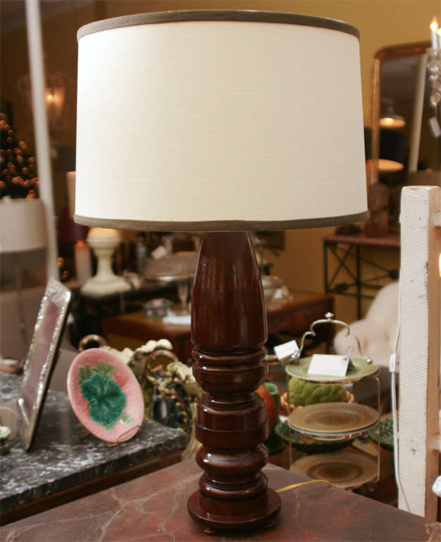 Pair of mahogany lamps made from Antique Balusters.