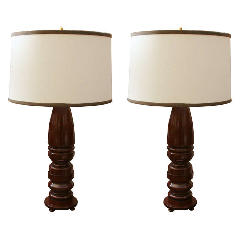 Pair of Mahogany Lamps For Sale