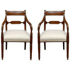 Pair Of 19thc Regency Style Mahogany Armchairs