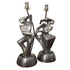 Cubist Plaster Pair Of Lamps