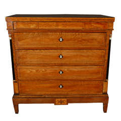 1830s Danish Five-Drawer Inlaid Commode