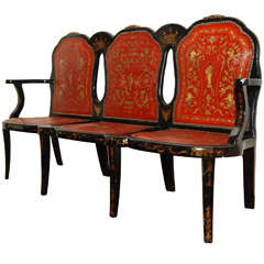 Fine and Rare Black Lacquer Triple-Back Settee