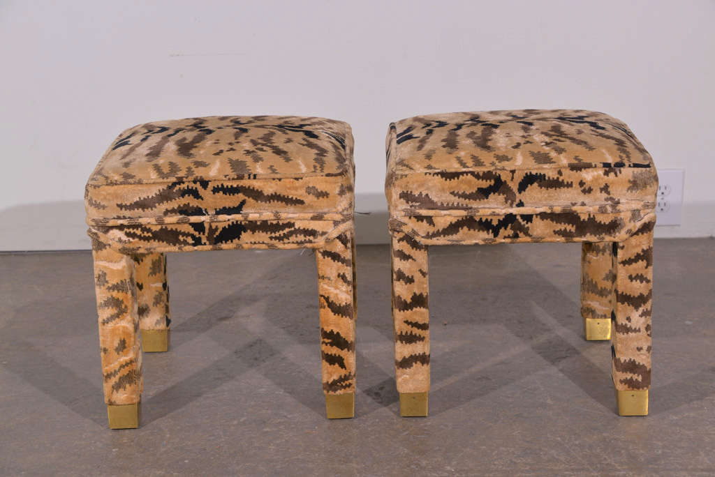 Pair of Parsons Stools with Brass Leg Detail image 2