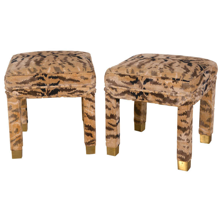 Pair of Parsons Stools with Brass Leg Detail