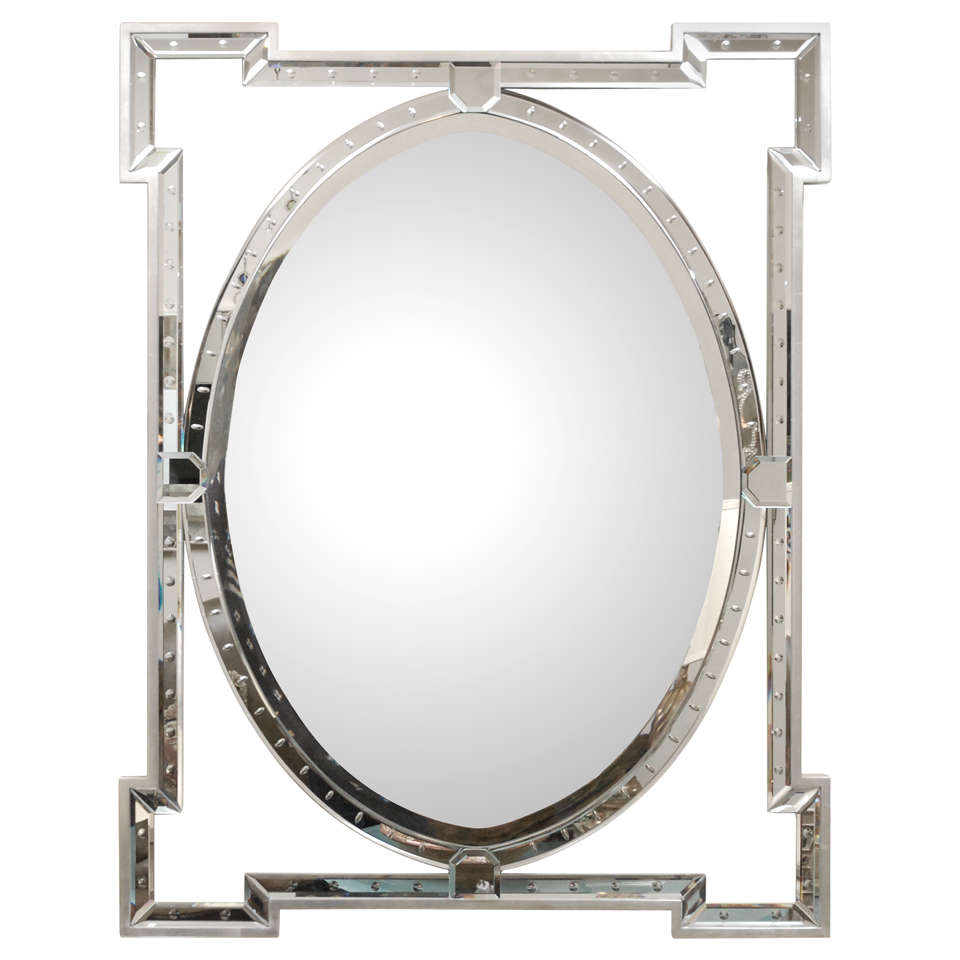Oval banded mirror with silver leaf frame for sale at 1stdibs for Silver mirrors for sale