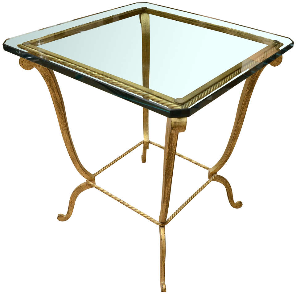 Gilt metal occasional table with glass top at 1stdibs for Glass top occasional tables
