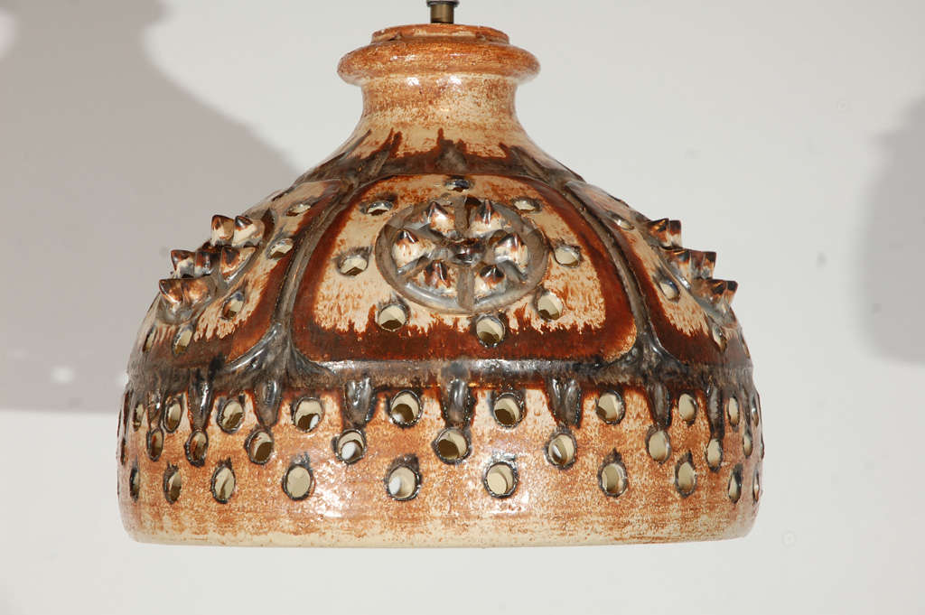 Signed Jette Helleroe Art Pottery Fixture In Excellent Condition For Sale In Los Angeles, CA