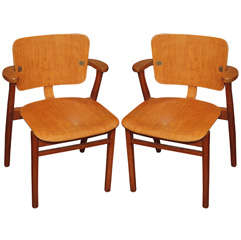 Pair of Art Deco Beechwood Chairs