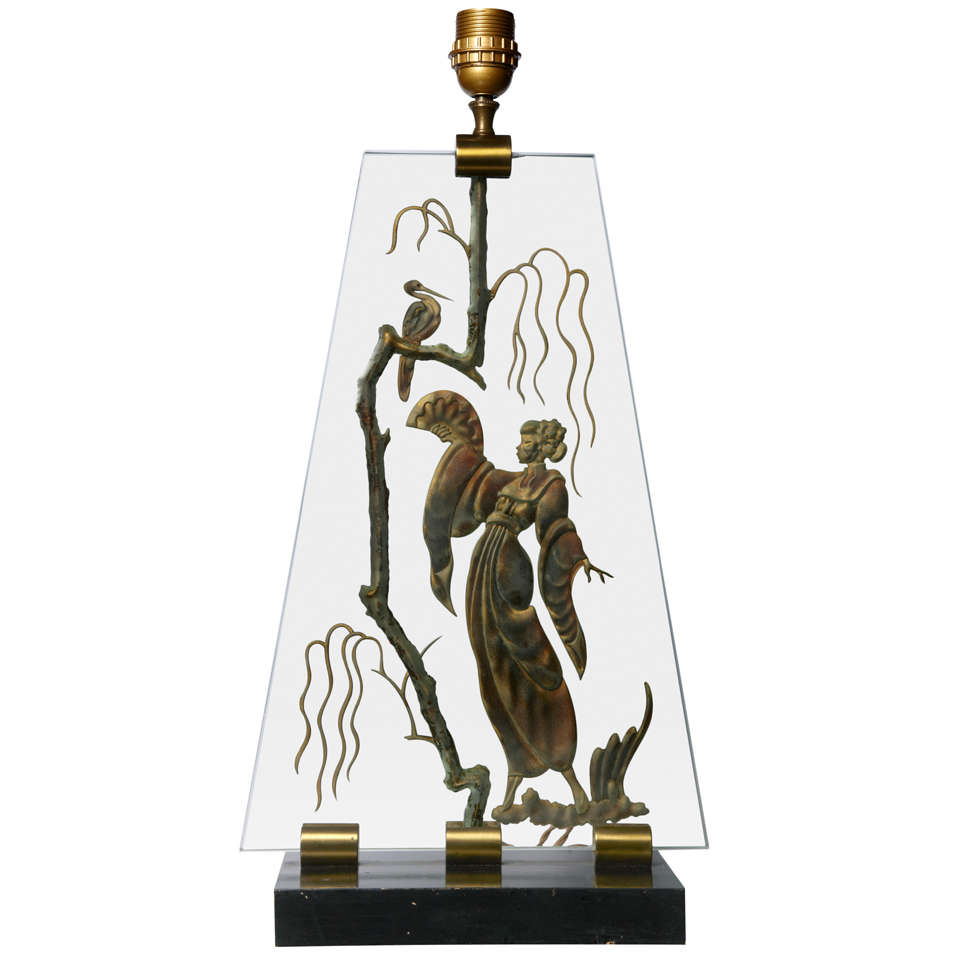 1940s Carved Glass Table Lamp