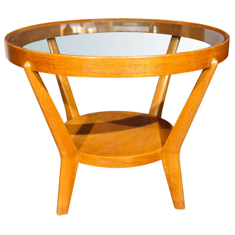 Oak and beech wood side table at stdibs