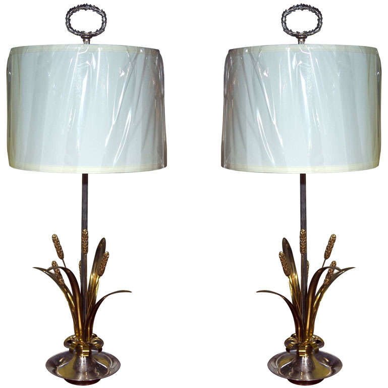 Pair of Naturalist Motif Silver/Brass Table Lamps For Sale