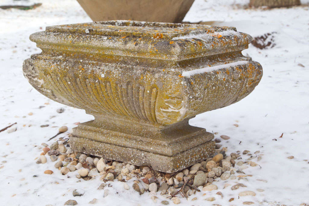 French Unique Single Carved Stone Planter For Sale