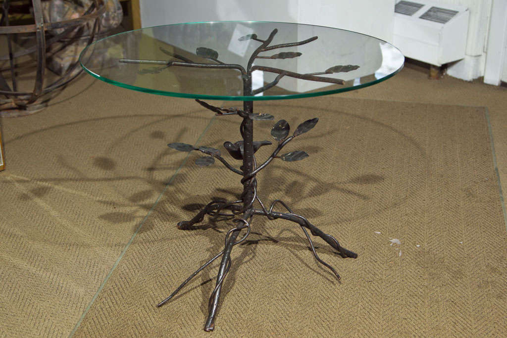 Pair of Black Wrought Iron End Tables 2