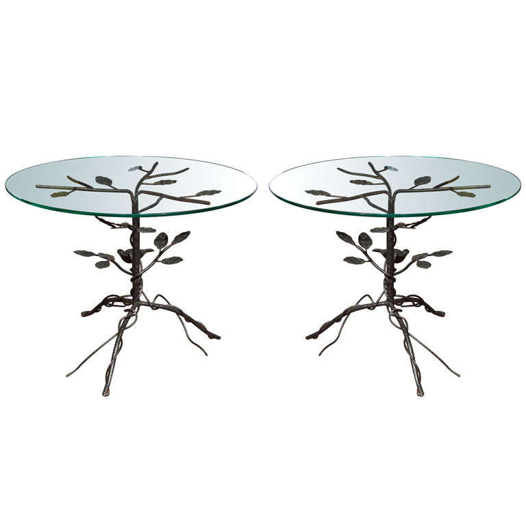 Pair of Black Wrought Iron End Tables 1