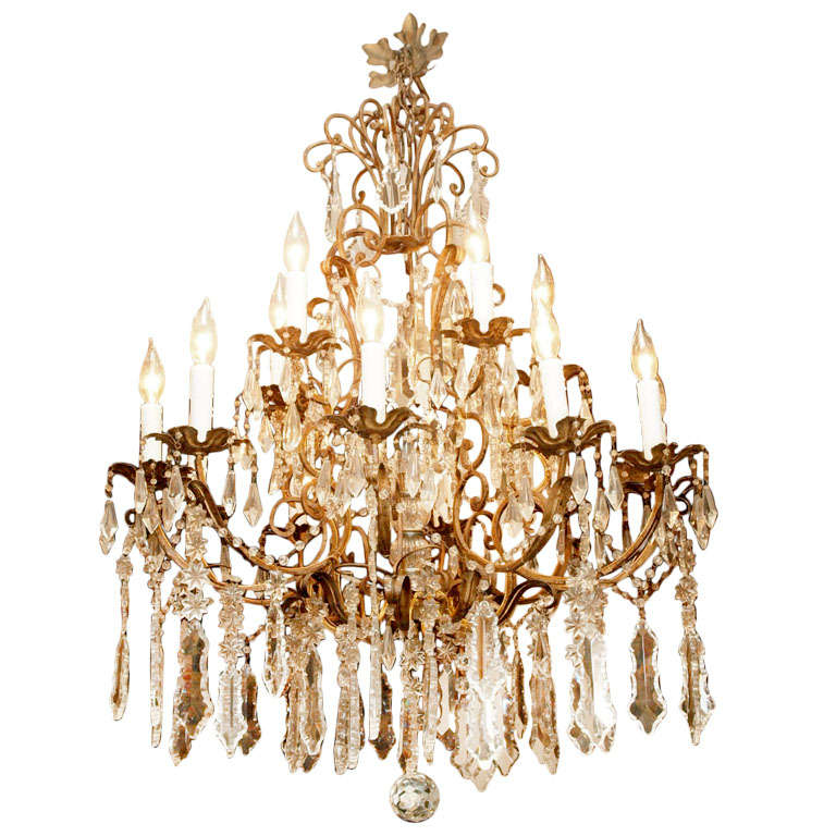 Italian Gilt Iron And Crystal Chandelier At 1stdibs