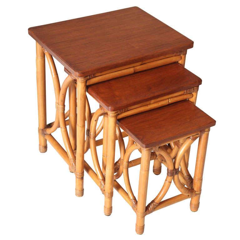 Vintage rattan nesting tables at stdibs