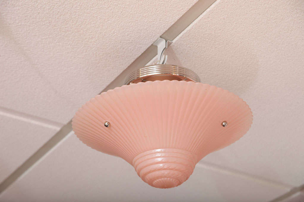 Pair of Deco, Pink Chandeliers, Hot Pink For Sale 1