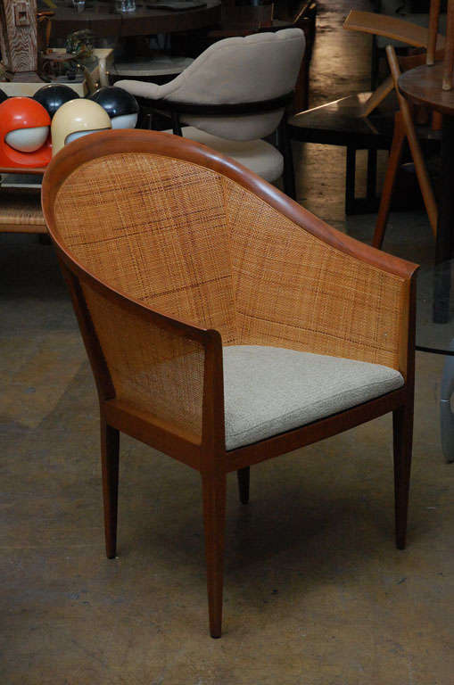 Pair of cane armchairs by Kipp Stewart for Directional In Good Condition In Los Angeles, CA