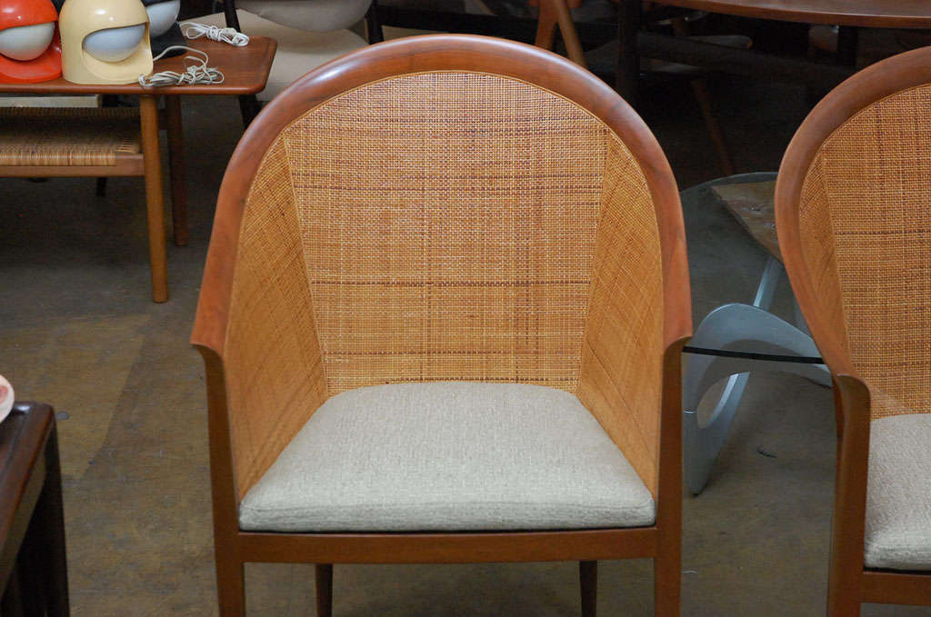 Wood Pair of cane armchairs by Kipp Stewart for Directional