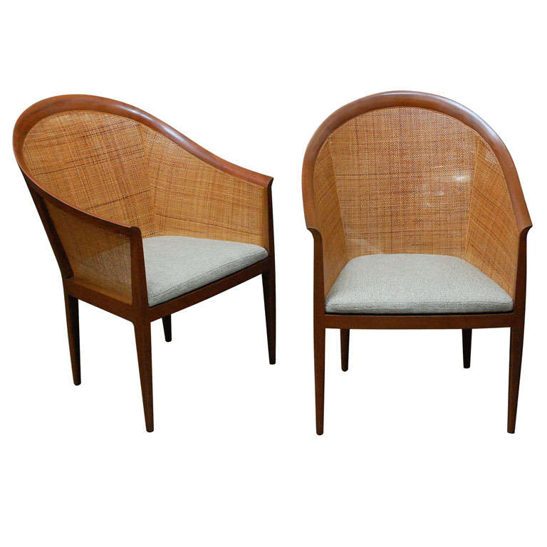 Pair of cane armchairs by Kipp Stewart for Directional
