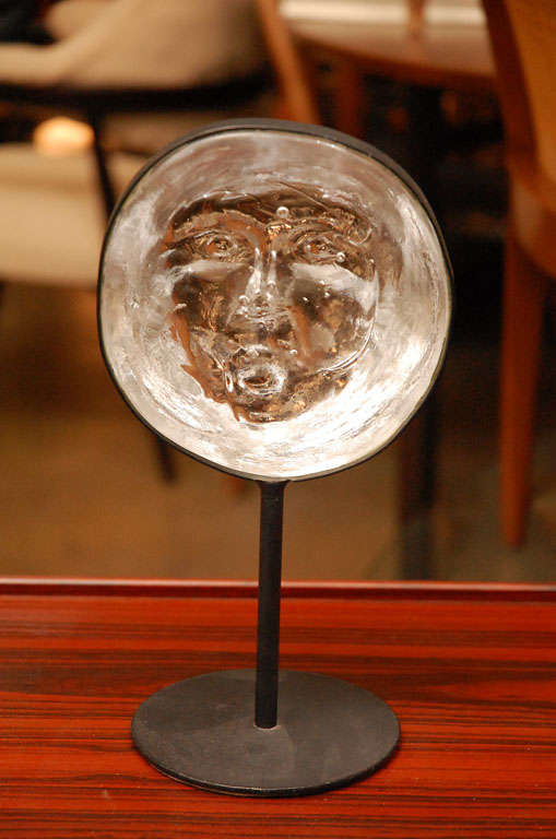 Erik Hoglund Glass And Metal Stand Face Sculpture For Boda At 1stdibs